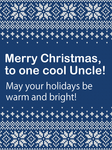 Blue Sweater Merry Christmas Card for Uncle
