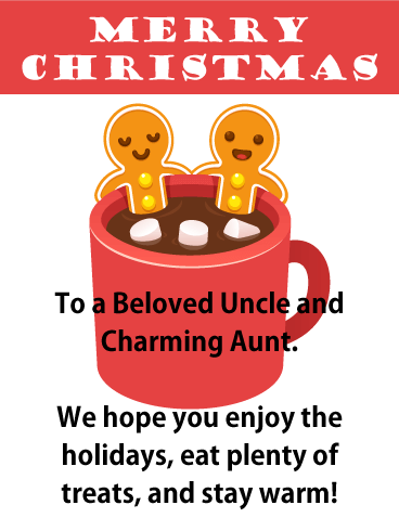Hot Cocoa Tub Merry Christmas Card for Uncle and Aunt