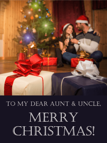 Gift Exchange Merry Christmas Card for Aunt and Uncle