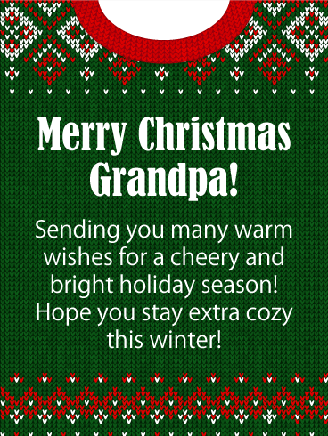 Cozy Sweater - Merry Christmas Card for Grandpa