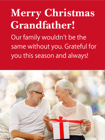 Senior Couple Gift - Merry Christmas Card for Grandfather