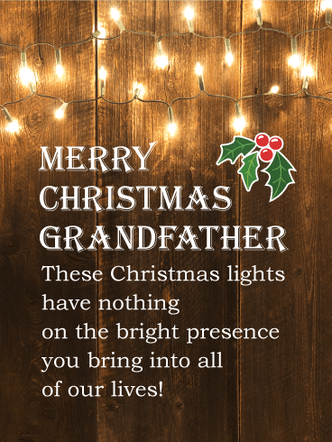 Rustic Lights - Merry Christmas Card for Grandfather