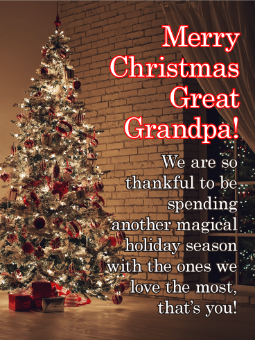 Big Tree - Merry Christmas Card for Great Grandpa
