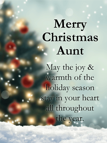 Magical Tree - Merry Christmas Card for Aunt | Birthday & Greeting ...