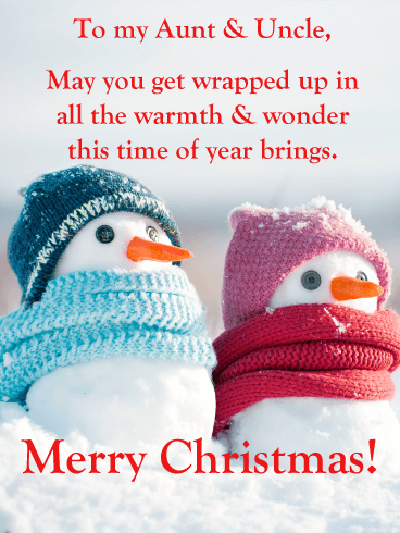 Lovely Snow Couple merry Christmas Card for Aunt and Uncle