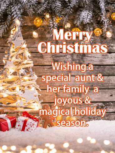 Magical Merry Christmas Cards  for Aunt & Her Family