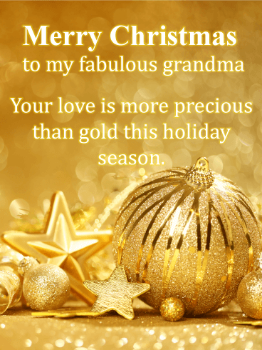 Golden Jewel Christmas - Merry Christmas Card for Grandmother