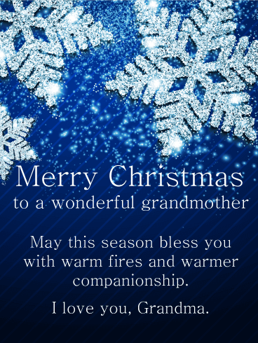Silver Winter Wishes - Merry Christmas Card for Grandmother