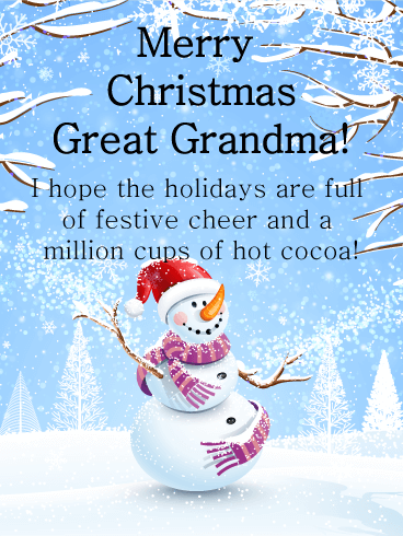 Smiling Snowman - Merry Christmas Card for Grandmother