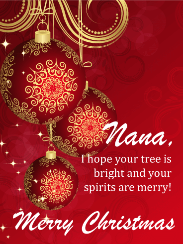 Holiday Cheer Ornaments - Merry Christmas Card for Grandmother