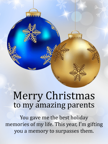Beautiful Christmas Ornaments Card for Parents