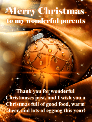 Gorgeous Christmas Ornament Card for Parents
