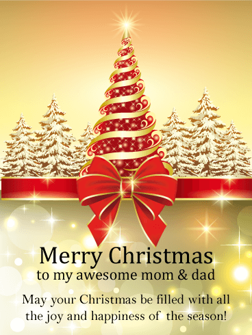 Golden Christmas Tree Card for Parents