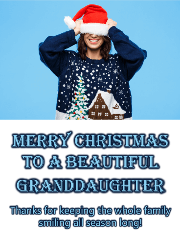 Christmas Sweater Silliness - Merry Christmas Card for Granddaughter