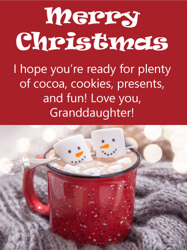 Marshmallow Snowman - Merry Christmas Card for Granddaughter