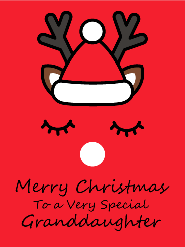 Cute Reindeer - Merry Christmas Card for Granddaughter
