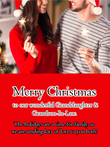 Young Couple with Sparklers - Merry Christmas Card for Granddaughter and Grandson-In-Law