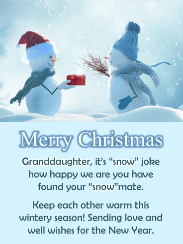 Snow Couple - Merry Christmas Card for Granddaughter and Grandson-In-Law