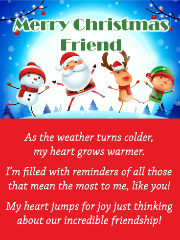 Jumping Holiday Characters - Merry Christmas Card for Friends