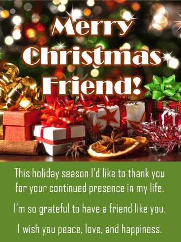 Merry Christmas My Friend.Presents Under The Tree Merry Christmas Card For Friends