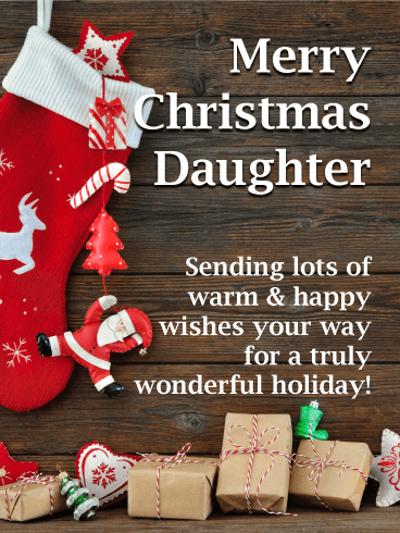 Climbing Santa - Merry Christmas Card for Daughter