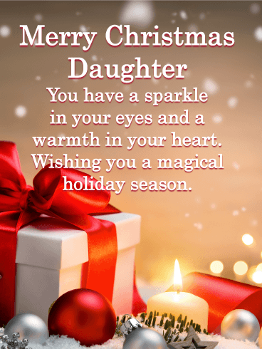 Glowing Gift Box - Merry Christmas Card for Daughter