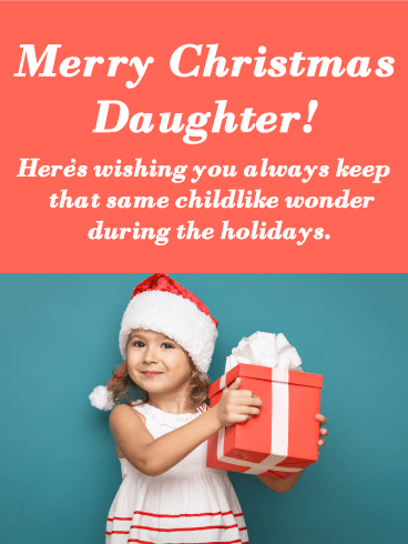 Adorable little girl - Merry Christmas Card for Daughter