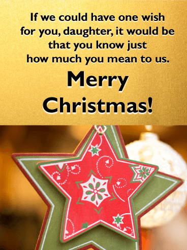 Charming Star Ornament - Merry Christmas Card for Daughter