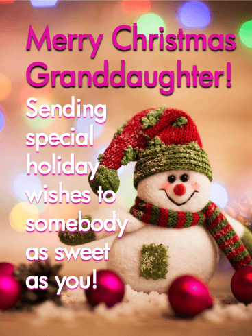 Adorable Snowman - Merry Christmas Card for Granddaughter