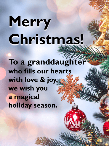 Lovely Christmas Tree - Merry Christmas Card for Granddaughter