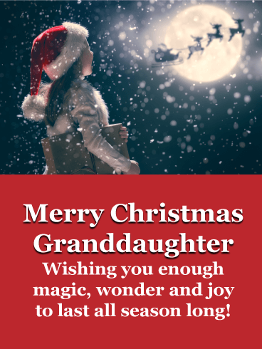 Little girl waiting with reindeer - Merry Christmas Card for Granddaughter