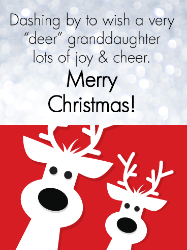 Deer Family - Merry Christmas Card for Granddaughter