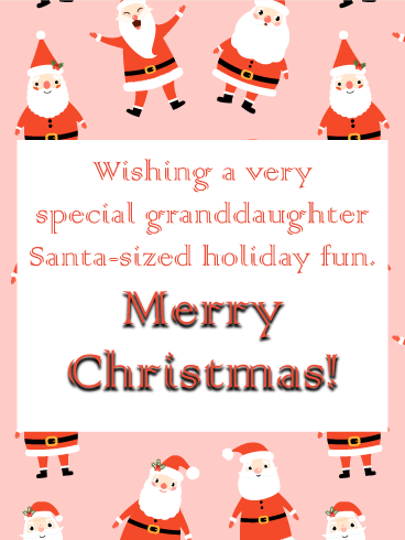 Animated Santa - Merry Christmas Card for Granddaughter