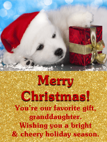 Puppy Santa - Merry Christmas Card for Granddaughter