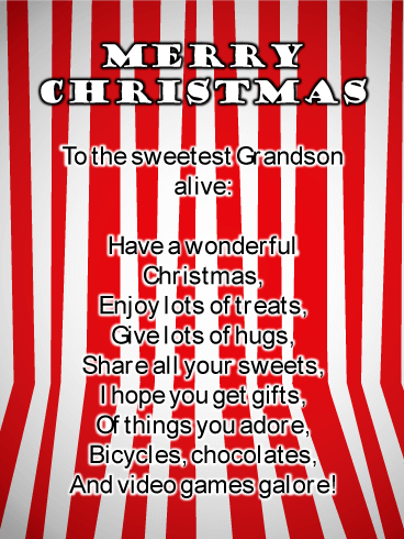 Peppermint Stripes - Merry Christmas Card for Grandson