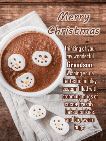 Snowman Cocoa - Merry Christmas Card for Grandson