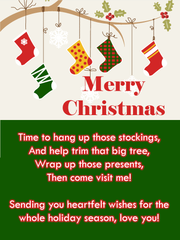 Holiday Stockings - Merry Christmas Card for Grandson