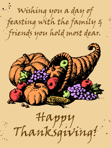 Old Fashioned Happy Thanksgiving Card
