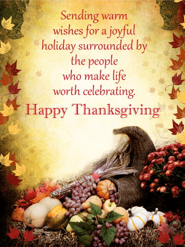 Sending Warm Wishes - Happy Thanksgiving Card