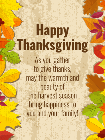 Have the Happiness Harvest Season! Happy Thanksgiving Card