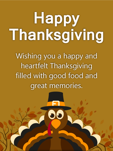 Heartfelt Turkey Happy Thanksgiving Card