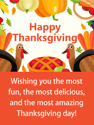 Colorful & Fun Happy Thanksgiving Card