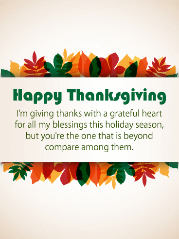 With a Grateful Heart - Happy Thanksgiving Card