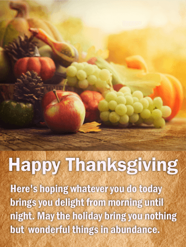 To a Wonderful Holiday - Happy Thanksgiving Card