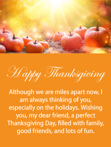 Miles Apart Happy Thanksgiving Card For Friends Birthday