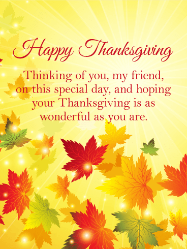 thinking of you happy thanksgiving card for friends