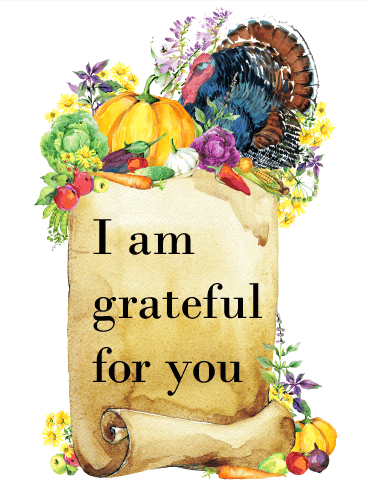 I am Grateful - Colorful Thanksgiving Card
