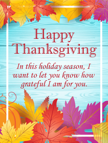 Pretty Colored Happy Thanksgiving Card