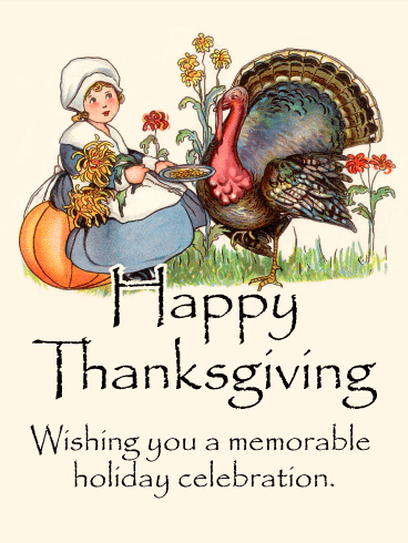 Retro Happy Thanksgiving Card