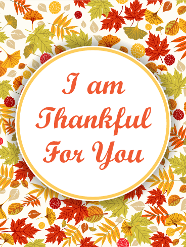 I am Thankful Autumn Leaves Thanksgiving Card